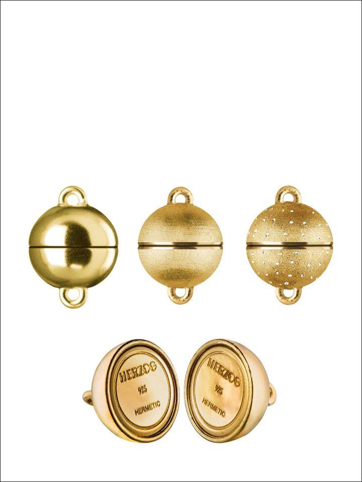 Magnetschließen HERMETIC-SYSTEM Silber goldplatiert